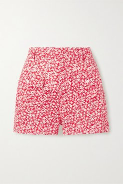 Floral-print Broderie Anglaise Cotton Shorts - Tomato red