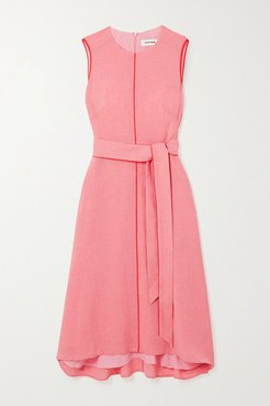 Belted Voile Midi Dress - Pink