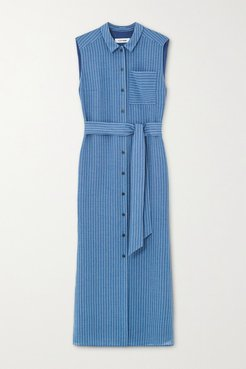 Ursula Belted Pinstriped Voile Midi Shirt Dress - Blue