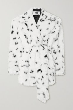 Oversized Belted Printed Faux Fur Coat - White