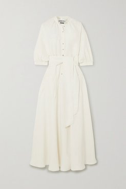Argentina Belted Satin-twill Maxi Dress - White