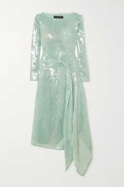 Angelo Draped Sequined Tulle Midi Dress - Mint