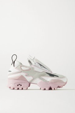 Pyer Moss Trail Fury Mesh And Faux Leather Sneakers - Stone