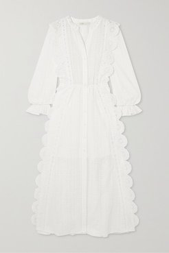 Crocheted Lace-trimmed Broderie Anglaise Cotton-voile Midi Dress - White