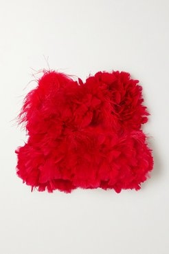 Feather-trimmed Cotton Bustier Top - Red