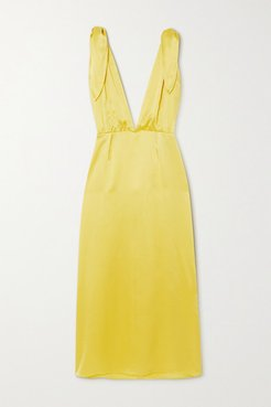 John Silk-satin Midi Dress - Yellow