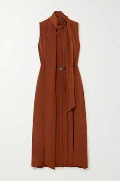Belted Scarf-detailed Silk Crepe De Chine Midi Dress - Brown