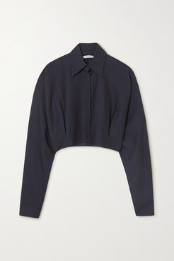 Cropped Wool-blend Gauze Shirt - Navy