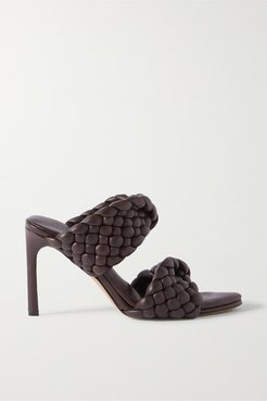 Intrecciato Quilted Leather Mules - Brown
