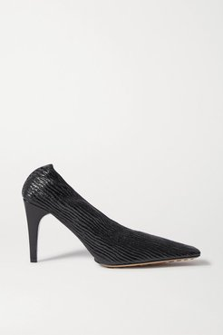 Textured Glossed-leather Pumps - Black