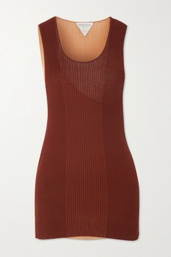 Layered Ribbed Cotton And Silk-blend Tank - Burgundy