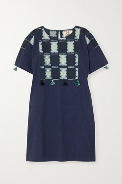 Lucia Embroidered Cotton Mini Dress - Navy