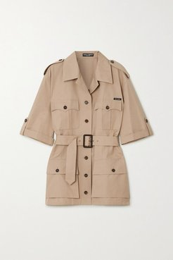 Oversized Belted Cotton Jacket - Beige