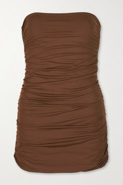 Avalon Strapless Ruched Swimsuit - Brown