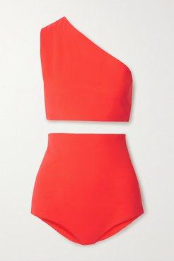 One-shoulder Bikini - Tomato red