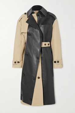 Belted Two-tone Leather And Cotton-gabardine Trench Coat - Beige