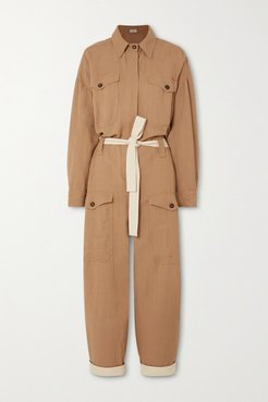 Space For Giants Belted Twill Jumpsuit - Camel
