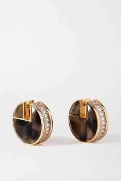 Gold-tone, Crystal And Tiger Eye's Earrings - Brown