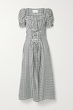 Marquise Lace-up Gingham Linen Midi Dress - Black
