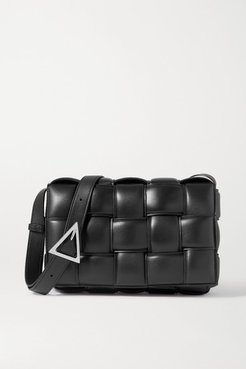 Cassette Padded Intrecciato Glossed-leather Shoulder Bag - Black