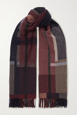Net Sustain Tableau Fringed Checked Wool And Cashmere-blend Scarf - Navy
