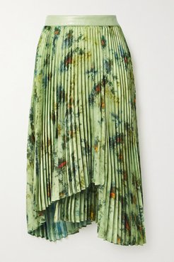 Faux Leather-trimmed Pleated Tie-dyed Crepe De Chine Skirt - Army green