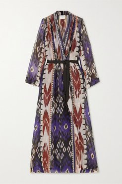 Belted Printed Linen And Silk-blend Voile Robe - Navy