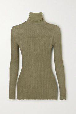 Ribbed Cotton Turtleneck Sweater - Army green