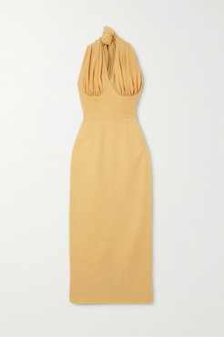 Ruched Woven Halterneck Midi Dress - Pastel yellow