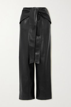 Belted Faux Leather Wide-leg Pants - Black