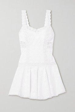 Biba Crocheted Lace-trimmed Broderie Anglaise Cotton-blend Mini Dress - White
