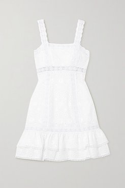 Nawa Crocheted Lace-trimmed Broderie Anglaise Cotton-blend Mini Dress - White