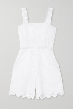 Zuma Crocheted Lace-trimmed Broderie Anglaise Cotton-blend Playsuit - White