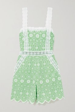 Zuma Crocheted Lace-trimmed Broderie Anglaise Cotton-blend Playsuit - Green