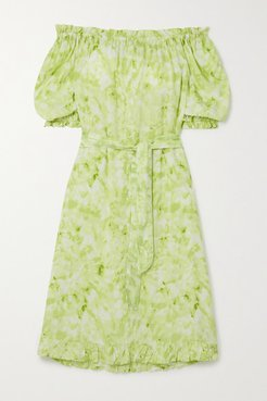 Saint Jean Off-the-shoulder Ruffled Tie-dyed Crepe Nightdress - Green