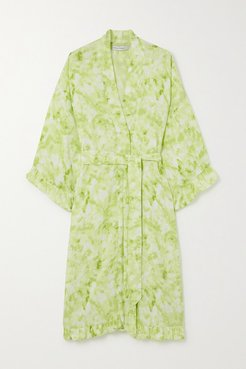 Moselle Ruffled Belted Tie-dyed Crepe Robe - Green