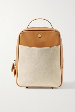 Mini City Leather And Cotton-canvas Backpack - Tan