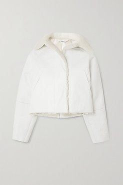 Reversible Cropped Coated Cotton-blend And Shearling Coat - White
