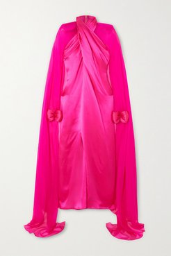 Cape-effect Twisted Silk-satin And Chiffon Gown - Pink