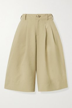Amy Pleated Twill Shorts - Taupe