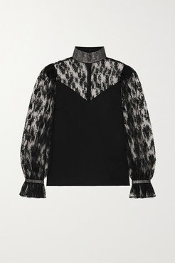 Crystal-embellished Satin And Lace Blouse - Black