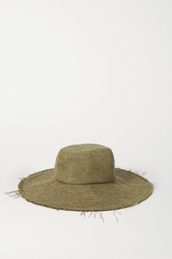Space For Giants Trail Frayed Mélange Linen Sunhat - Army green