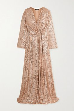 Scarlett Sequined Chiffon Wrap Gown - Blush