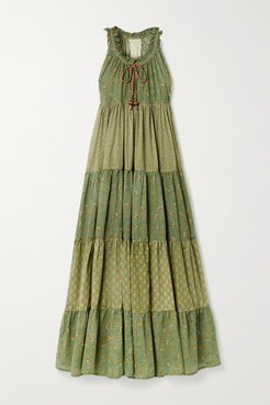 Hippy Tiered Printed Cotton-voile Maxi Dress - Green