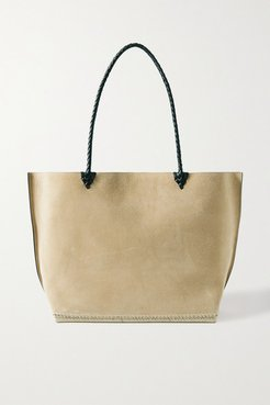 Espadrille Large Leather And Jute-trimmed Suede Tote - Beige