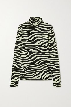 Zebra-print Stretch-cotton Jersey Turtleneck Top - Mint