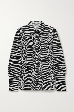 Animal-print Cotton-poplin Shirt - Ecru