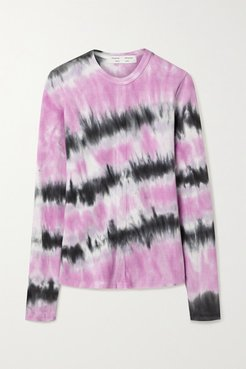 Ribbed Tie-dyed Stretch-cotton Top - Pink