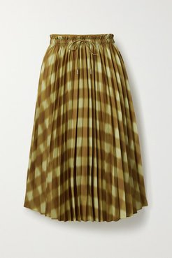 Printed Pleated Crepe Midi Skirt - Pastel yellow