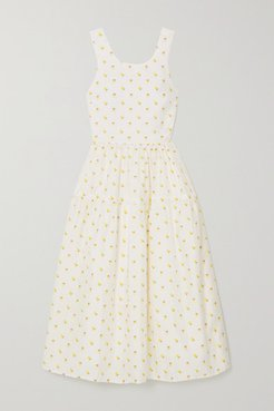 Tulula Open-back Tiered Floral-jacquard Midi Dress - White
